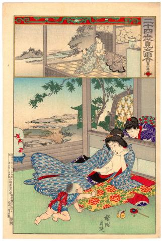 Toyohara Chikanobu BREASTFEEDING MADAME ZHANGSUN
