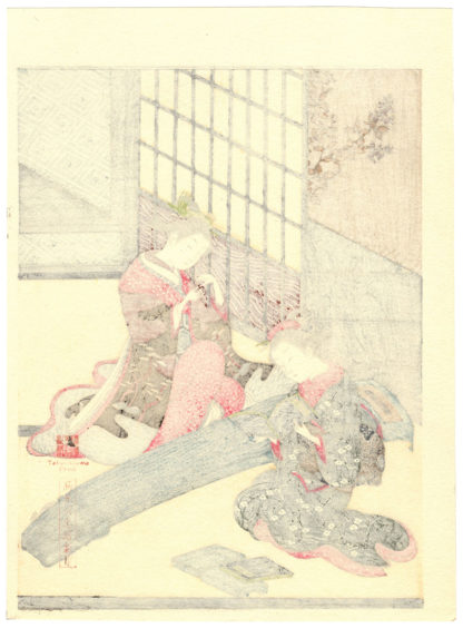 Suzuki Harunobu GEESE DESCENDING ON THE KOTO