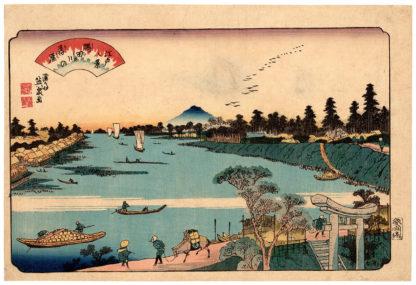 Keisai Eisen VIEW OF MOUNT TSUKUBA FROM THE SUMIDA RIVER