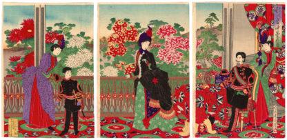 Toyohara Chikanobu CHRYSANTHEMUMS IN FULL BLOOM