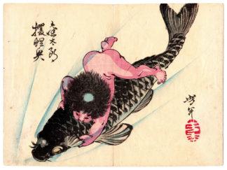 Tsukioka Yoshitoshi KINTARO CAPTURES THE GIANT CARP