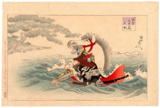 AKECHI HIDEMITSU CROSSING LAKE BIWA (Toyohara Chikanobu)