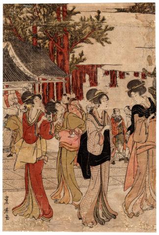 VISITING MYOHOJI TEMPLE (Utagawa Toyohiro)