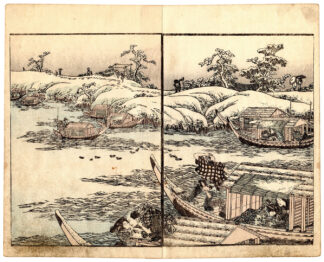 SNOWY LANDSCAPE AND PLEASURE BOATS (Utagawa Kunitora)