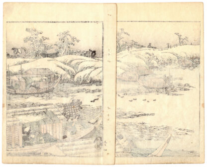 SNOWY LANDSCAPE AND PLEASURE BOATS (Utagawa Kunitora)