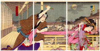 THE MERCHANT JIROZAEMON AND THE BEAUTIFUL YATSUHASHI (Toyohara Kunichika)