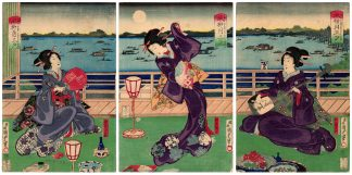 THE THREE EVENING PLEASURES (Utagawa Kunisada II)