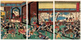 THE NIGHT ATTACK OF THE FAITHFUL SAMURAI (Utagawa Yoshiiku)